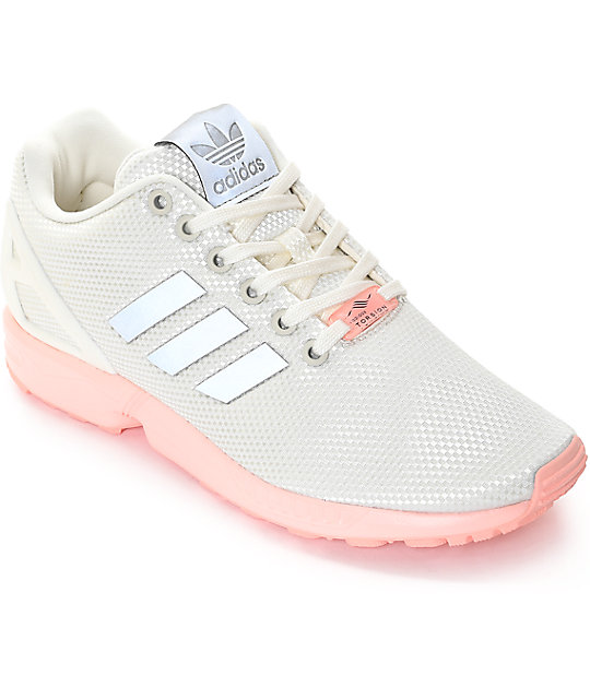 adidas zx flux white pink shoes
