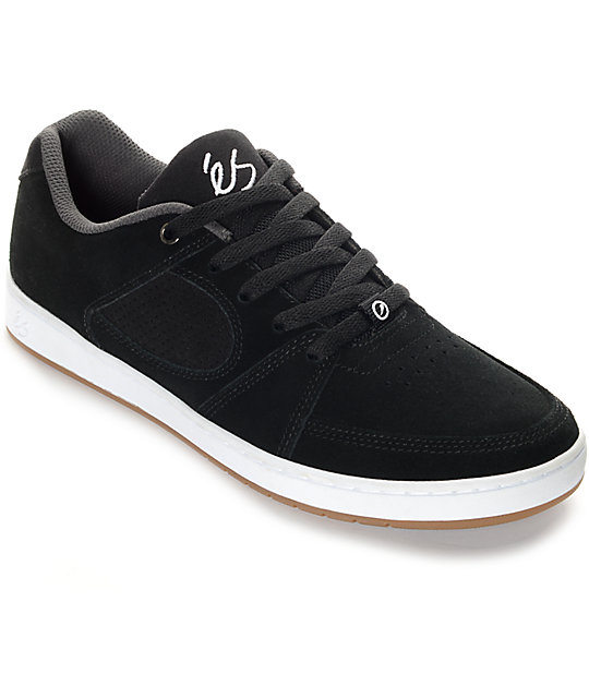 eS Accel Slim Black & White Suede Skate Shoes at Zumiez : PDP