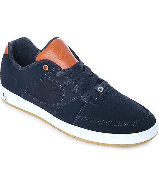 Es Accel Slim Navy Brown White Skate Shoes