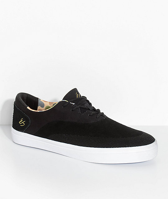 eS Arc Black & Camo Suede Skate Shoes