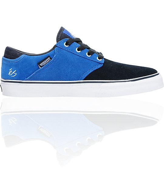 eS Edgar Navy & Light Blue Suede Skate Shoes