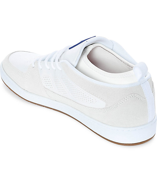 eS SLB Mid White & Gum Suede Skate Shoes
