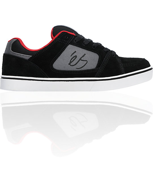 eS Slant Black & Red Skate Shoes