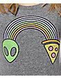 A-Lab Alien Pizza Rainbow Grey Scoop T-Shirt