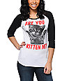 A-Lab Are You Kitten Me Black & White Baseball Tee