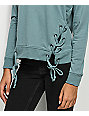 Almost Famous Lace Up Mint Crew Neck Sweatshirt