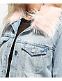 Almost Famous Light Wash & Pink Fur Collar Denim Jacket