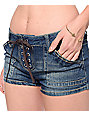 Almost Famous Randi Dark Wash Lace Up Shorts