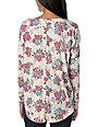 Billabong Go Getter Cream Floral Henley Long Sleeve Shirt