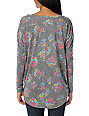 Billabong Go Getter Grey Floral Henley Long Sleeve Shirt