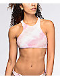 Billabong Todays Vibe Pink Tie Dye High Neck Bikini Top