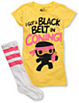 Bitter Sweet Black Belt Yellow T-Shirt & Sock Pack