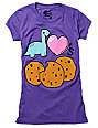 Bitter Sweet Dino Love Cookie Purple T-Shirt