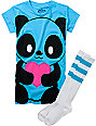 Bitter Sweet Giant Panda Turquoise T-Shirt & Tube Socks Pack