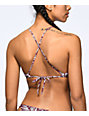 Byrds of Paradise Palm Lace Up Burgundy Halter Bikini Top