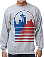 Casual Industrees Seattle Shadow Skyline Grey Crew Neck Sweatshirt