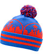 Casual Industrees Seattle Skyline Blue & Red Pom Cuff Beanie