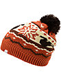 Coal Heidi Dueling Squirrels Orange Pom Beanie