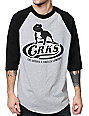 Crooks and Castles Bully Grey & Black Baseball T-Shirt