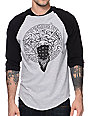 Crooks and Castles Primo Black & Grey Baseball T-Shirt