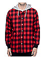 Crooks and Castles Tyrant Red & Black Hooded Flannel Shirt