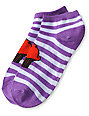 Cupcake Purple Stripe No Show Socks