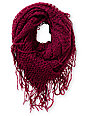 D&Y Dark Purple Fringe Knit Infinity Scarf