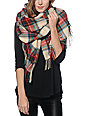 D&Y Ivory Plaid Oblong Blanket Scarf