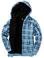 DC Boys T-star Blue Plaid Sherpa Fleece Hoodie