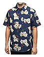 DGK Come Up Navy Short Sleeve Button Up Shirt