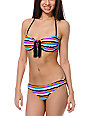 Damsel Momentum Geo Print U-Wire Bandeau Bikini Top