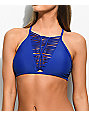 Damsel Slitting Solid Blue High Neck Bikini Top