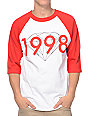 Diamond Supply Co 98 Brilliant Red & White Baseball T-Shirt