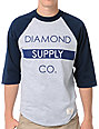 Diamond Supply Co Bar Logo Navy Baseball T-Shirt