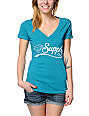 Diamond Supply Co Diamondaire Teal V-Neck T-Shirt