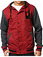 Dravus Pennant Red Hooded Varsity Jacket
