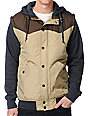 Dravus Plateau Khaki & Brown Hooded Vest Jacket