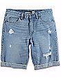 Empyre Albany Medium Wash Destroyed Denim Shorts