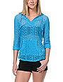 Empyre Austin Stripe Neon Blue Crochet Poncho