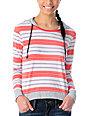 Empyre Bainbridge Coral Stripe Knit Pullover Hoodie