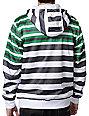 Empyre Bowen White & Green Striped Zip Up Tech Fleece Jacket