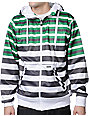 Empyre Bowen White & Green Striped Zip Up Tech Fleece Jacket