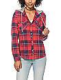 Empyre Bristol Red & Navy Mineral Wash Hooded Flannel