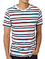 Empyre CMYK White Striped V-Neck T-Shirt