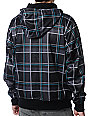 Empyre Decade Black & Teal Plaid Zip Up Tech Fleece Jacket
