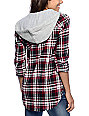 Empyre Eddy Red, Black & White Plaid Hooded Flannel Shirt