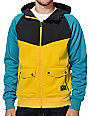 Empyre Fame Charcoal, Yellow & Teal Tech Fleece Hooded Jacket