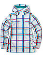Empyre Liberty White & Pink Plaid 10K Snowboard Jacket