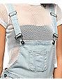 Empyre Madelyn Sunbleach Destructed Denim Overall Shorts