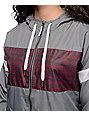 Empyre Mattie Grey & Burgundy Tribal Lined Windbreaker Jacket